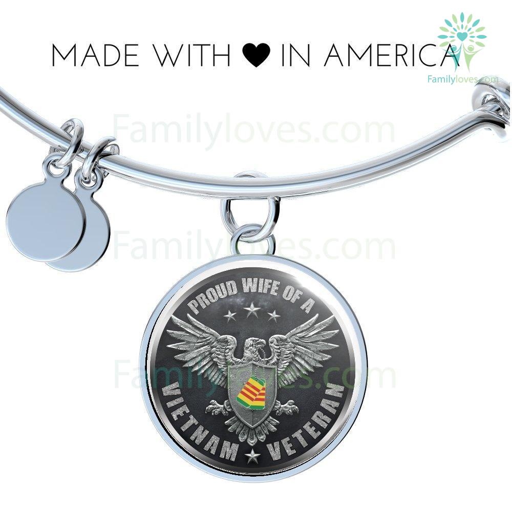 PROUD WIFE OF A VIETNAM VETERAN BANGLE Bangle-Bracelet adjustable %tag familyloves.com