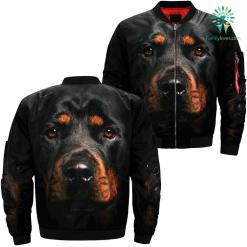 Rottweiler Black Dog over print jacket %tag familyloves.com