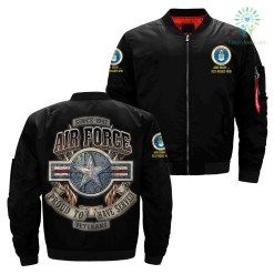 familyloves.com Since 1947 Air Force Proud To Have Served Veterans Over Print Jacket %tag