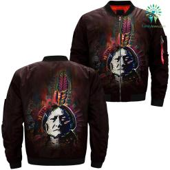 familyloves.com Sitting Bull over print bomber jacket %tag