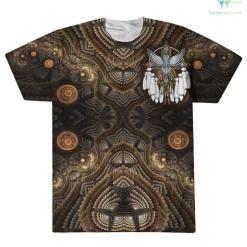 Snowy Owl Native American Mandala Over Print T-Shirt %tag familyloves.com