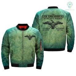 familyloves.com THE 2ND AMENDMENT IS MY GUN PERMIT over print Bomber jacket %tag