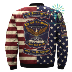 familyloves.com THE 2nd AMENDMENT, THE RIGHT OF THE PEOPLE TO KEEP AND BEAR ARMS over print Bomber jacket %tag