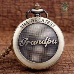 familyloves.com The Greatest Grandpa Bronze Quartz Pocket Watch Pendant Chain %tag