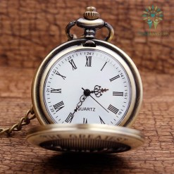 familyloves.com The Greatest Grandpa Bronze Quartz Pocket Watch Pendant Chain %tag