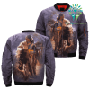 familyloves.com Native American Girl and her Wolves over print bomber jacket %tag