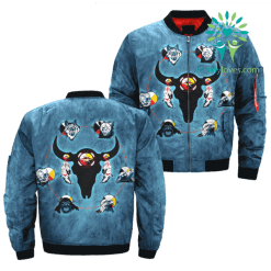 familyloves.com The seven sacred teachings over print bomber jacket %tag