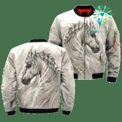 familyloves.com THE WHITE HORSE AMERICAN NATIVE OVER PRINT BOMBER JACKET %tag