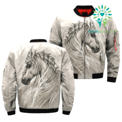 THE WHITE HORSE AMERICAN NATIVE OVER PRINT BOMBER JACKET %tag familyloves.com