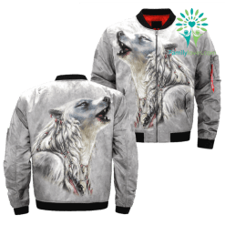 THE WHITE WOLF AMERICAN NATIVE OVER PRINT BOMBER JACKET %tag familyloves.com