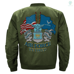 familyloves.com U.S AIR FORCE RETIRED EMBROIDERED JACKET %tag