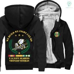 U.S NAVY SEABEES, VIETNAM VETERAN, WE BULID WE FIGHT CAN DO HOODIE - black-hoodie, XL %tag familyloves.com
