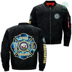 U.S. Navy firefighter over print Bomber jacket %tag familyloves.com
