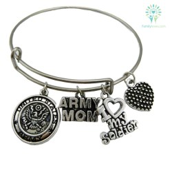 United States Army Mom Bracelet Stainless Steel Default Title %tag familyloves.com