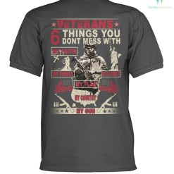 familyloves.com VETERANS 6 THINGS YOU DONT MESS WITH polo shirt %tag