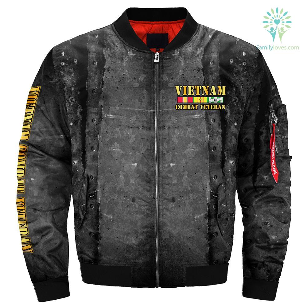Vietnam veteran combat over print Bomber jacket %tag familyloves.com