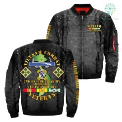 familyloves.com Vietnam veteran combat over print Bomber jacket %tag