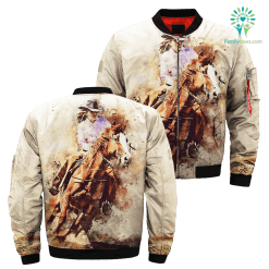 Watercolor horse rider over print jacket %tag familyloves.com