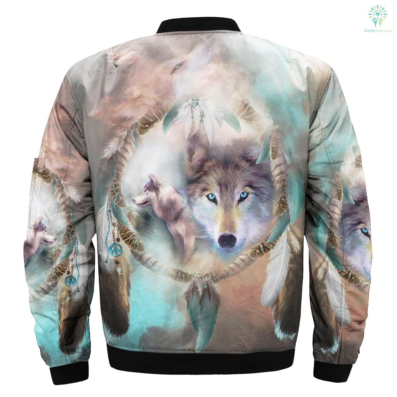 Wolf Dream Catcher over print bomber jacket %tag familyloves.com