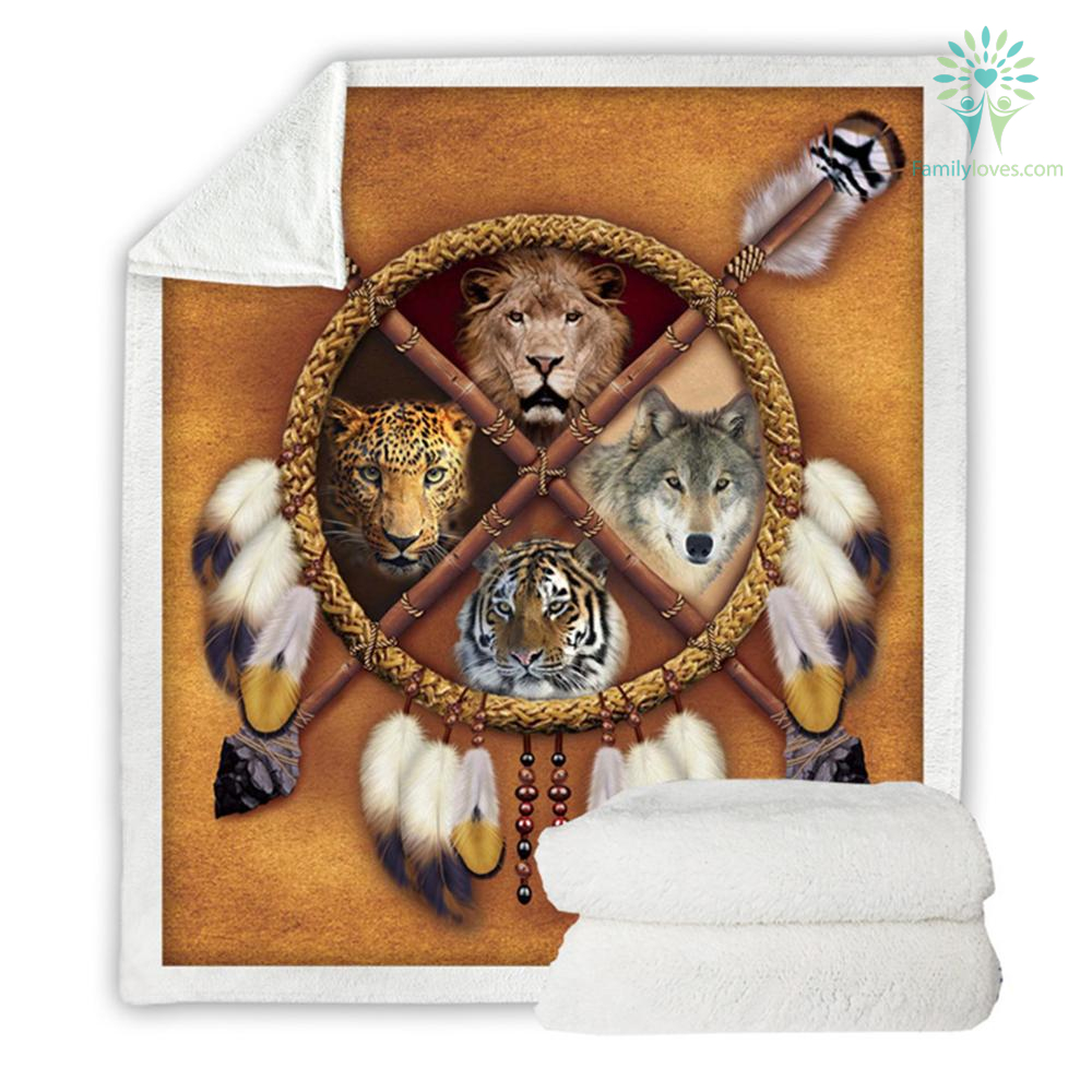familyloves.com Wolf Dreamcatcher Fleece Blanket Native American Plush Throw Blanket D Animal Tribal Lion Tiger Leopard Bears Thin Quilt %tag