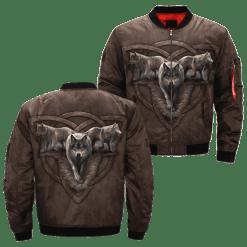 familyloves.com Wolf Trio par Anne Stokes over print bomber jacket %tag