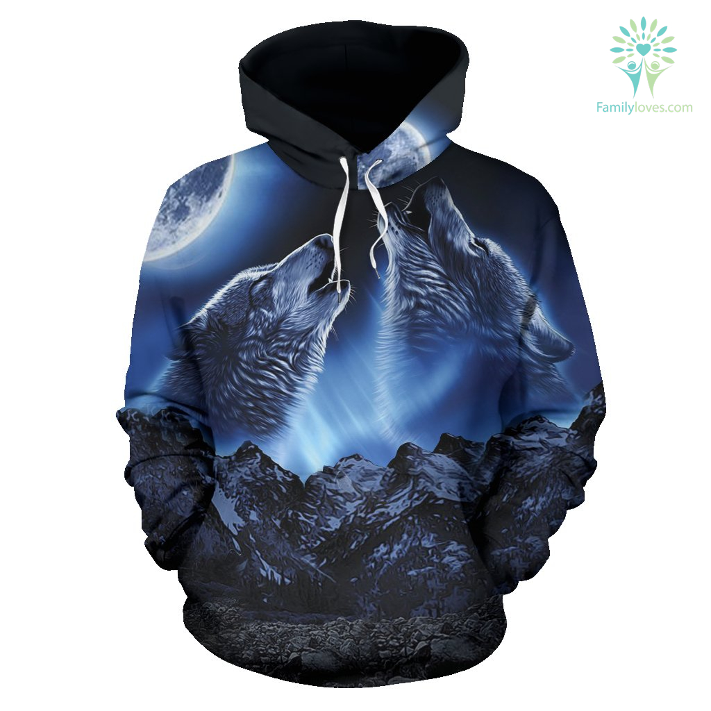 WOLVES HOWLING MOON All Over Hoodie %tag familyloves.com