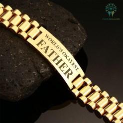 familyloves.com World's okayest father-men bracelets %tag