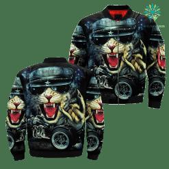 Heavy Metal Mens Wild Rock Animal Biker Tattoo Tee Street Punk Rider Black Over Print Jacket payment shipping %tag familyloves.com