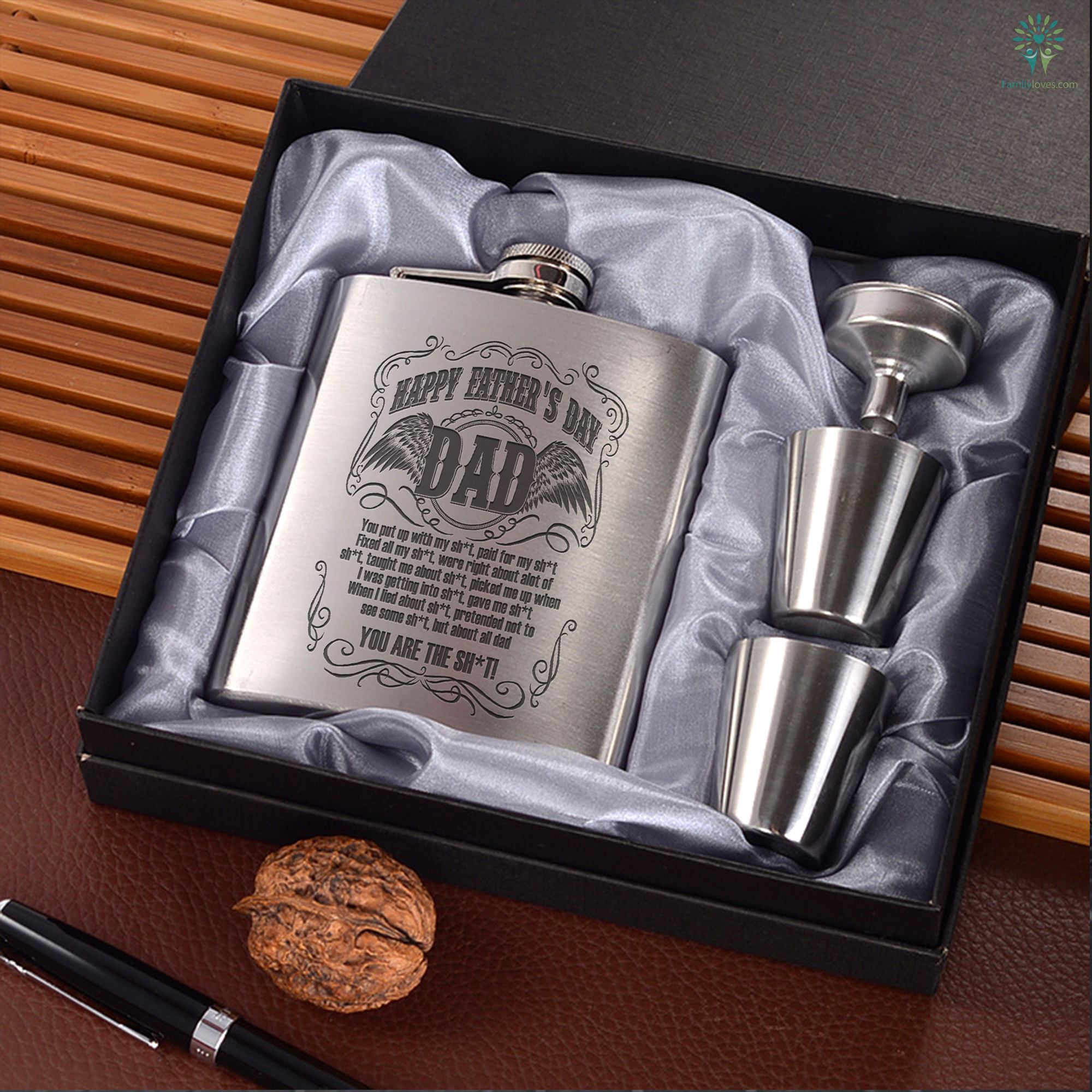 b4e4569f94909 Happy Father's Day Dad... Portable Stainless Steel Boxed Laser Engraving -  FamilyLoves.Com