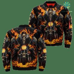 Skeleton Rider Over Print Jacket %tag familyloves.com