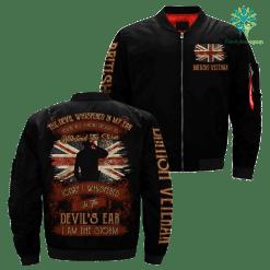 familyloves.com The devil whispered in my ear… I am the storm Veteran British veteran Over Print Jacket %tag