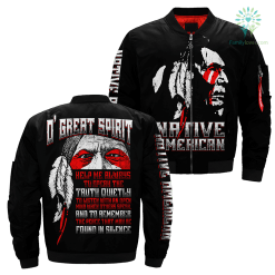 O' Great Spirit Over Print Jacket %tag familyloves.com
