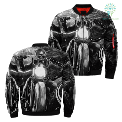 Motorcycle Rider Skull Over Print Jacket %tag familyloves.com