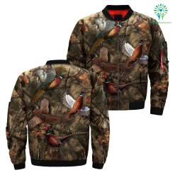 3D All Over printed pheasant hunting jacket %tag familyloves.com