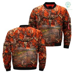 familyloves.com 3D All Over Printed Orange Camo Hunting jacket %tag