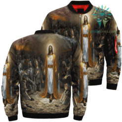 Jesus Of The Army Over Print Jacket %tag familyloves.com