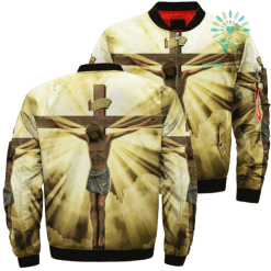 Jesus The Cross Over Print Jacket %tag familyloves.com