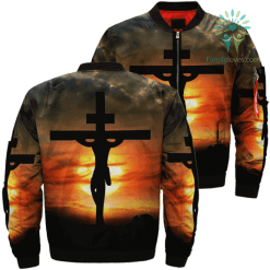 familyloves.com Look At The Cross For Salvation Jesus Over Print Jacket %tag