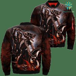 familyloves.com Motorcycle Skeleton Over Print Jacket %tag