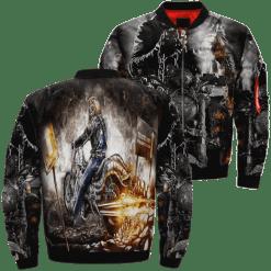 familyloves.com Iron Maiden Motorbike Skull Over Print Jacket %tag