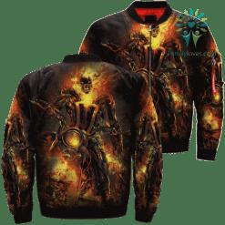 familyloves.com Ghost Rider Skull Over Print Jacket %tag