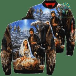 familyloves.com God Was Born Over Print Jacket %tag