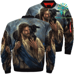 Jesus And Black Sheep Over Print Jacket %tag familyloves.com