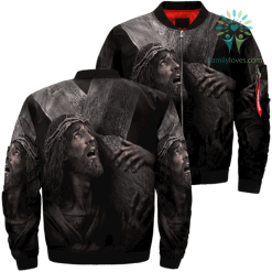 Jesus Carried The Cross Over Print Jacket %tag familyloves.com