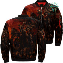 familyloves.com Ride To Hell Skull Over Print Jacket %tag