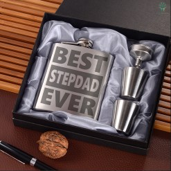 Best stepdad ever Portable Stainless Steel Boxed Laser Engraving %tag familyloves.com