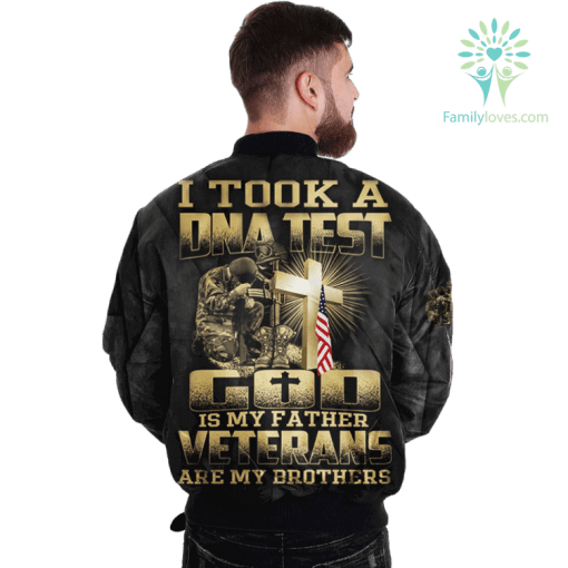 I took DNA test god is my father veterans are my brothers Over Print Jacket %tag familyloves.com