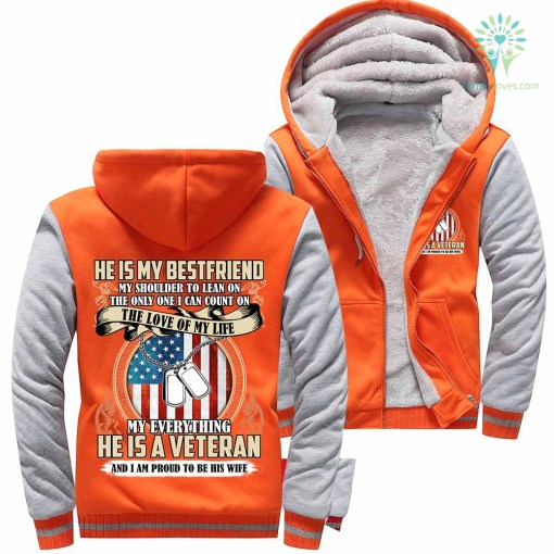 He Is My BestFriend... He Is A Veteran And I Am Proud To Be His Wife Woman Hoodie 50% warm %tag familyloves.com