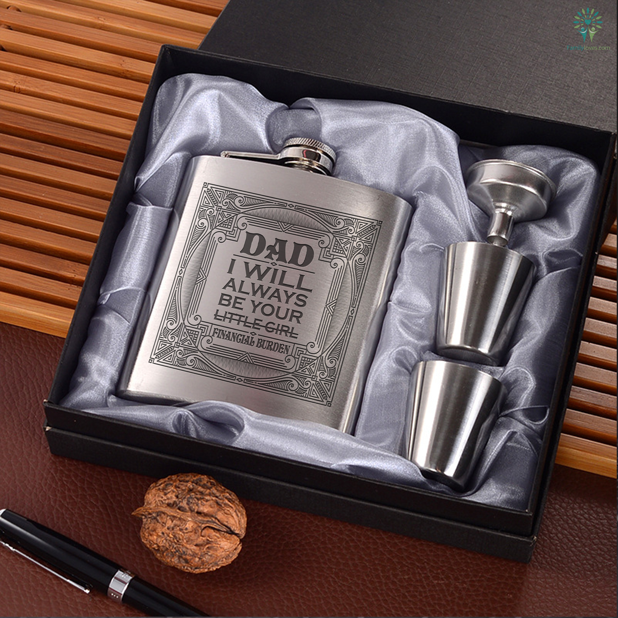 ba80bd1dc31 Dad I will always be your little girl financial burden Portable Stainless  Steel Boxed Laser Engraving