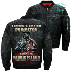 I Didn't Go To Princeton I Went To Parris Island Over Print Jacket %tag familyloves.com
